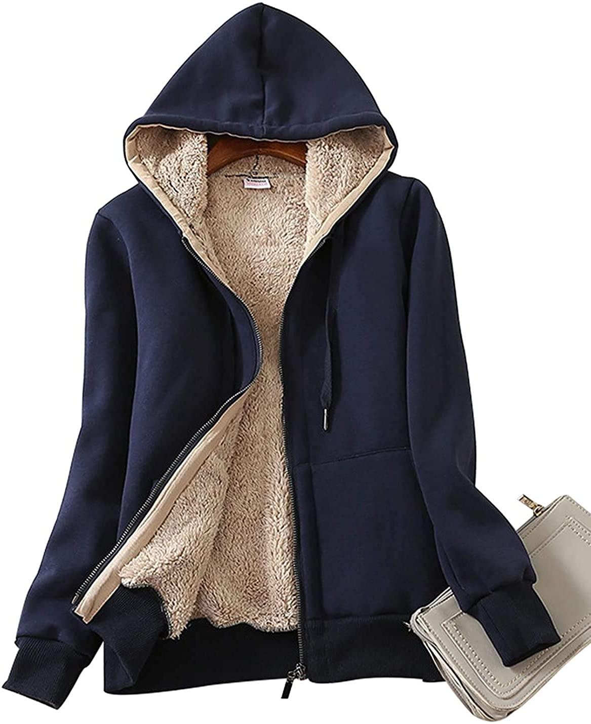 SWISSWELL Hoodies for Women Winter Fleece Sweatshirt - Full Zip Up Thick Sherpa Lined