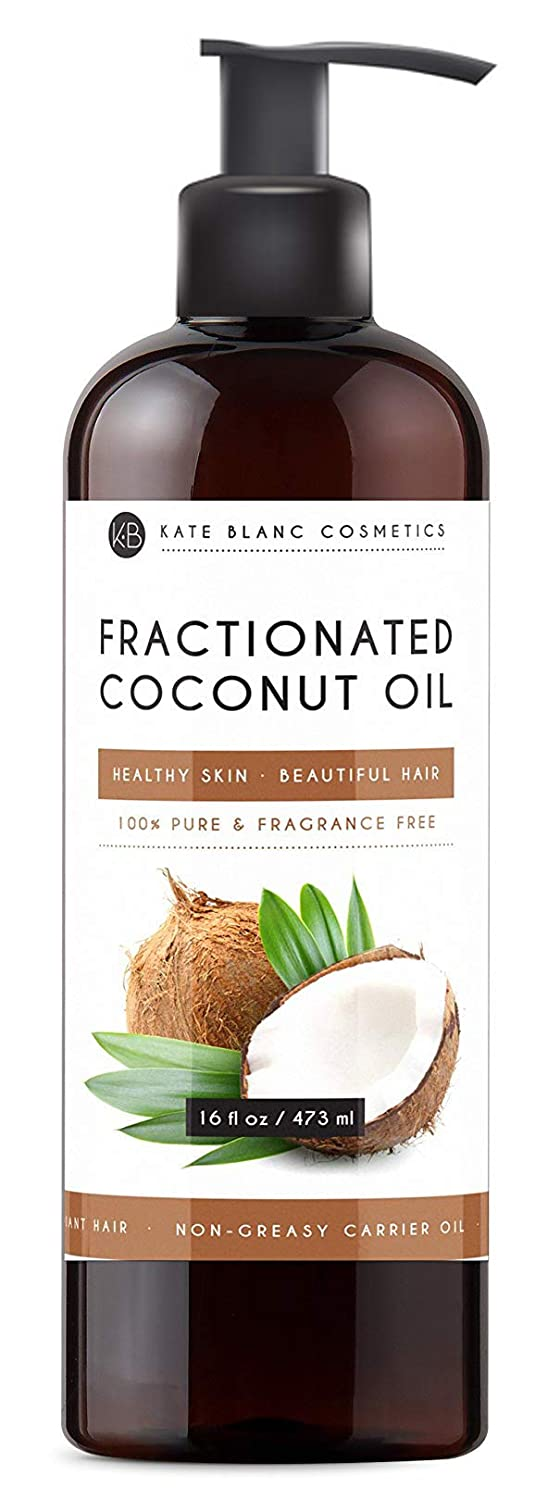 Fractionated Coconut Oil 16oz by Kate Blanc. For Aromatherapy Relaxing Massage, Carrier Oil for Diluting Essential Oils, Hair & Skin Care Benefits, Moisturizer & Softener. 1-Year Warranty.