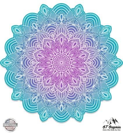 GT Graphics Detailed Mandala Beautiful Flower Design - Vinyl Sticker Waterproof Decal