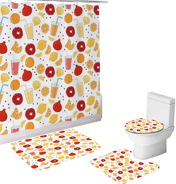 Modern 4 Piece Bathroom Set,Fruits Pomegranate Orange Juice Kitchen Lemon,72
