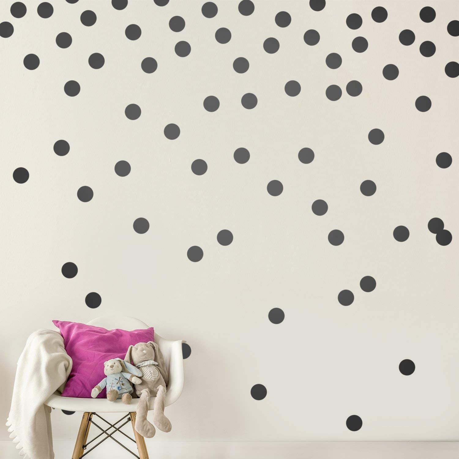 Wall Decal Dots (200 Decals) Easy to Peel Easy to Stick Safe on Painted Walls Removable Vinyl Polka Dot Decor Round Sticker Large Paper Sheet Set for Nursery Room (Black) v4