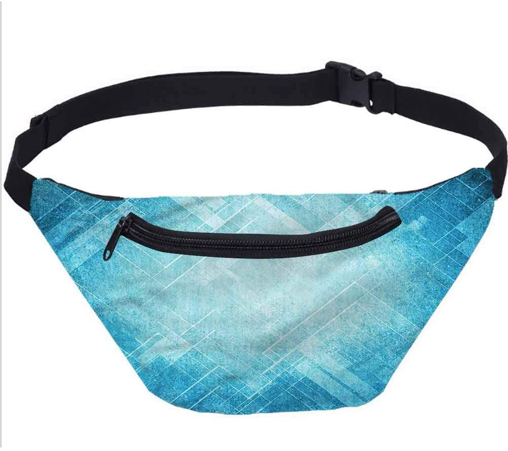 Blue Travel Fanny Bag,Grungy Abstract Chevron Lines Waist Pack for Adult Coworker