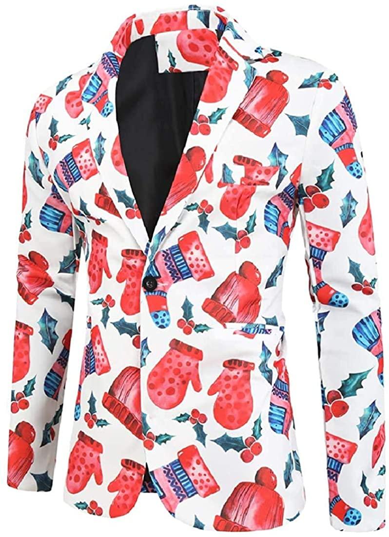 Men Slim Fit Suit Jacket Print One Button Dress Suit Blazer Jacket