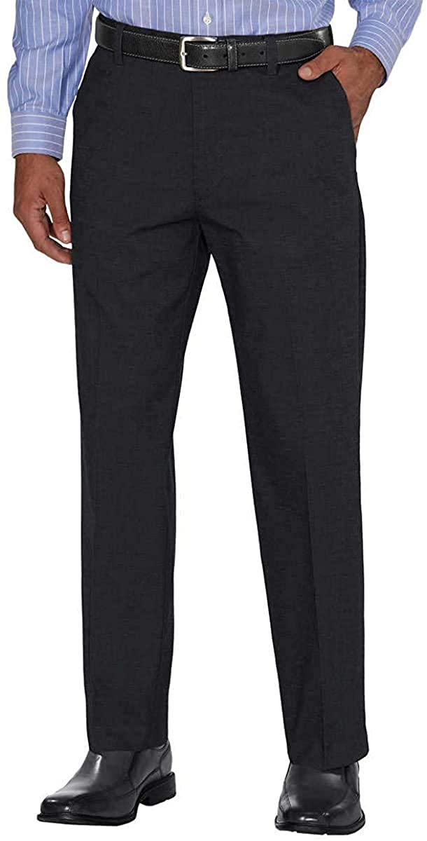 LTYBY Men's Non-Iron Comfort Pant,Black Pin Dot,36W x 34L