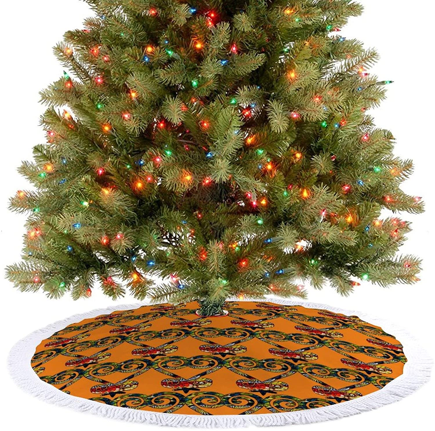 JHSLAJ Citrus and Blue African Print Sankofa Heart Christmas Tree Skirt for Xmas New Year Holiday Decorations Indoor or Outdoor