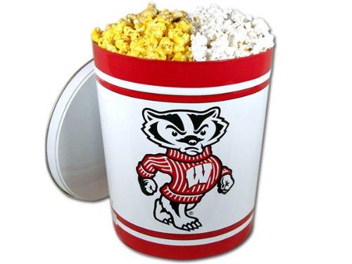 Wisconsin Badger Gourmet Popcorn Tin - 3.5 Gallon, 3-Way Popcorn Mix