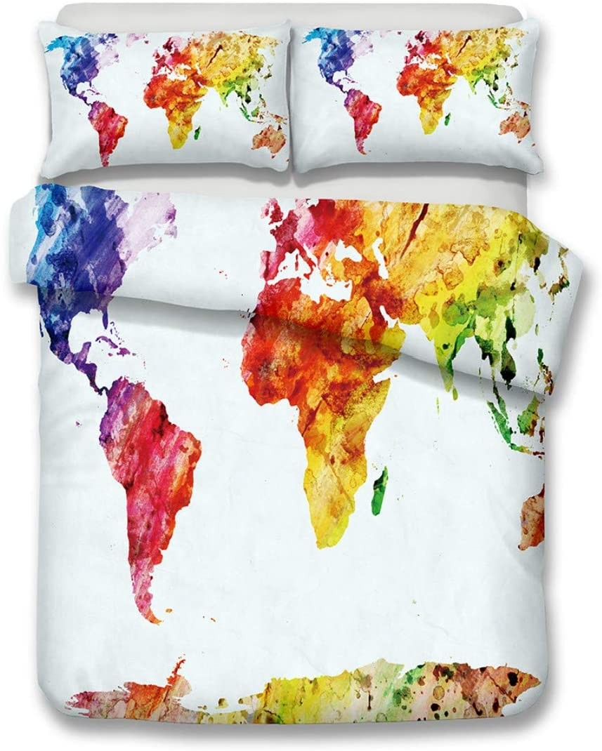 3D World Map Bedding Set Mandala Twin Size Quilt Cover Letter King Duvet Cover Bedclothes with Pillowcase Home Textiles for Adult (Only Two 50x75cm Pillowcases,2)