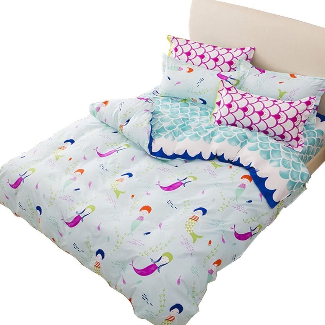 Sookie Duvet Cover Set with 2 Pillow Shams Blue Duvet Small mermaid Bedding - Twin