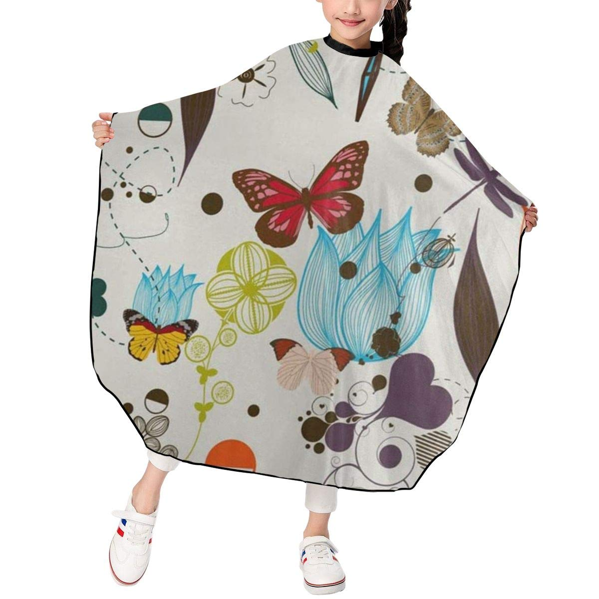 Blooming Flowers And Butterfly Capes For Hair Stylist Kids Waterproof Professional Barber Haircut Hair Cutting Salon Cape Apron Shawl For Boys Girls Child