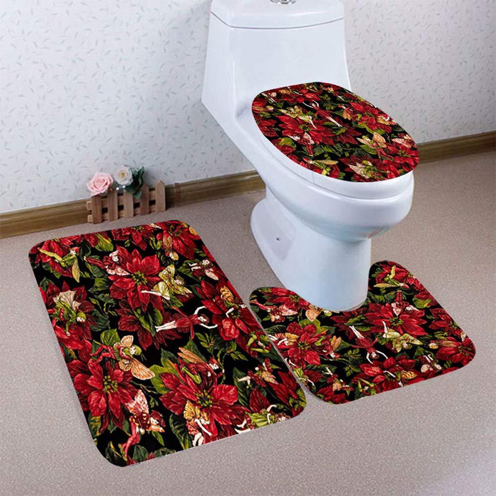 Ussore 3PCS Christmas Bathroom Mat Sets Non-Slip Pedestal Rug Lid Toilet Cover Bath Mat Suit Living Room Bedroom Deco (S9, AS Show)