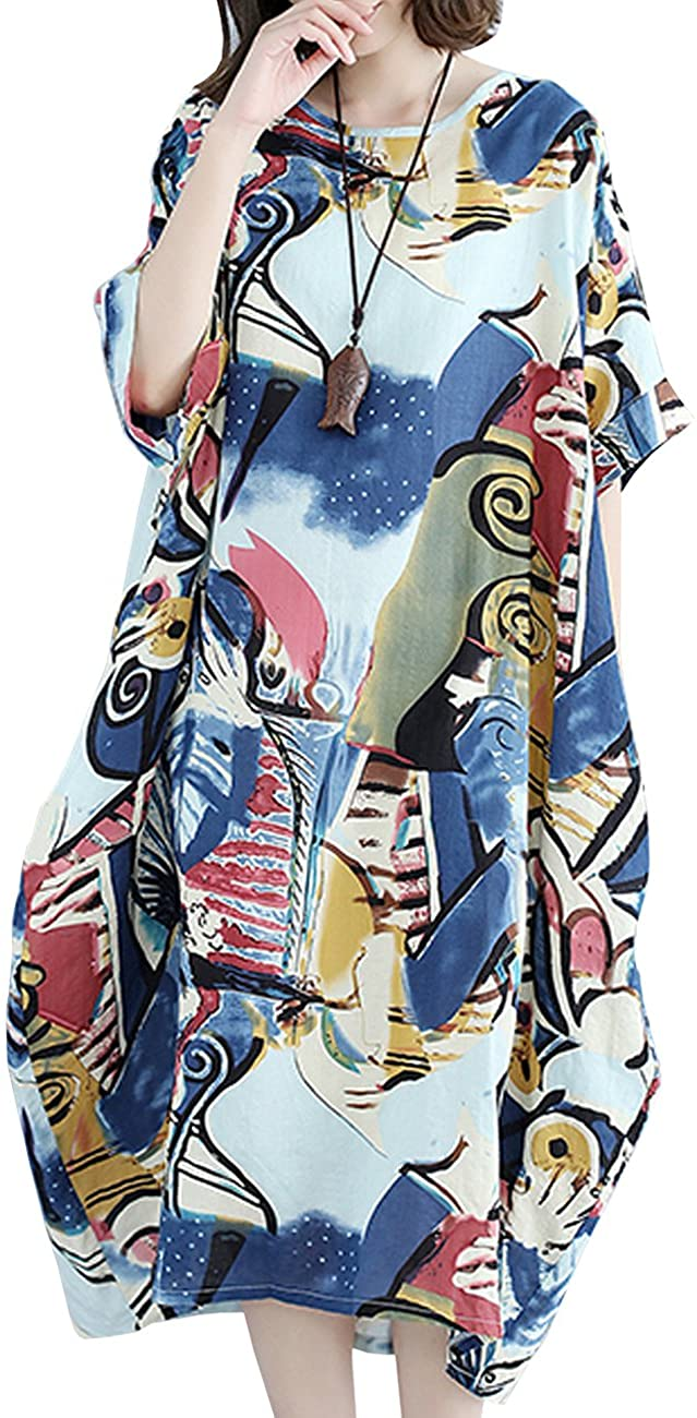 YESNO Women Long Maxi Baggy Dress Casual Plus Size Lagenlook Pop Art Oil Painting Like/Pocket F01