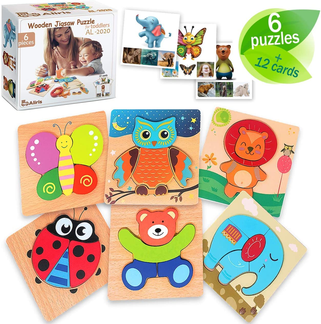 Aliris 6 Wooden Jigsaw Puzzles for Toddlers with Cards and Storage Bag Gift