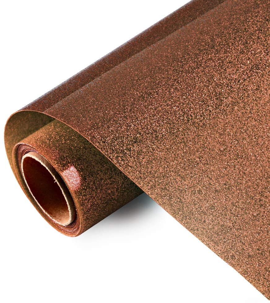Glitter HTV Iron on Vinyl 10inch x 5feet Roll by Viewmoi for Silhouette and Cricut Easy to Cut & Weed Heat Transfer Vinyl DIY Heat Press Design for T-Shirts (Brown)