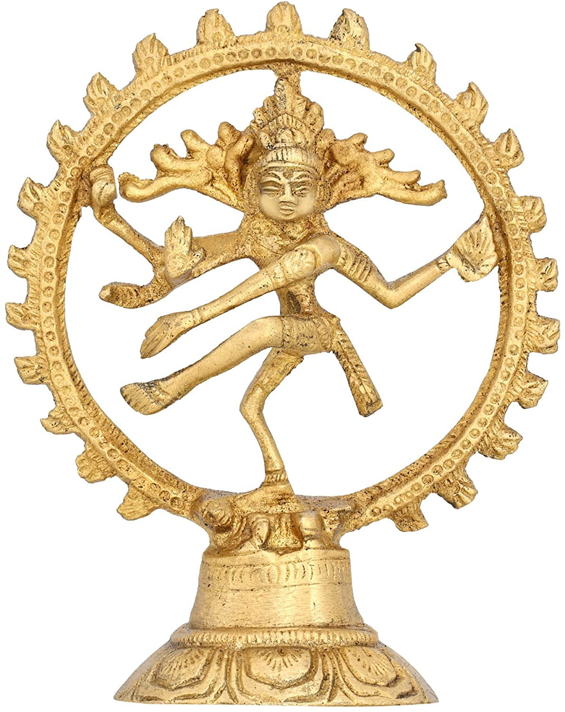 Shalinindia Dancing God Shiva Nataraja Hindu Statue for Home Mandir Temple Brass H:5 Inch, Wt:182 Gram
