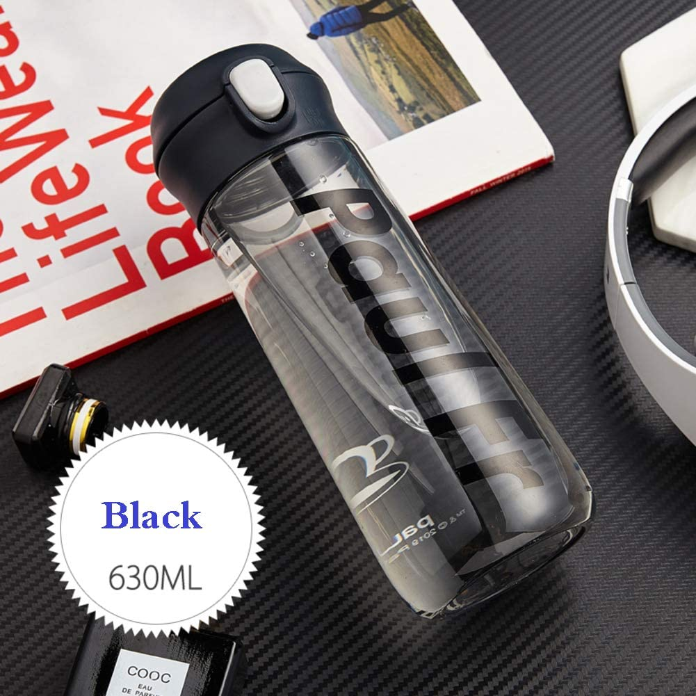 qwqqaq Fashion Sports Water Bottle with Carabiner,Button Lock Travel Mug Leak-Proof Drinkware Bpa-Free Water Jug Plastic Drinks Container-Black 630ml