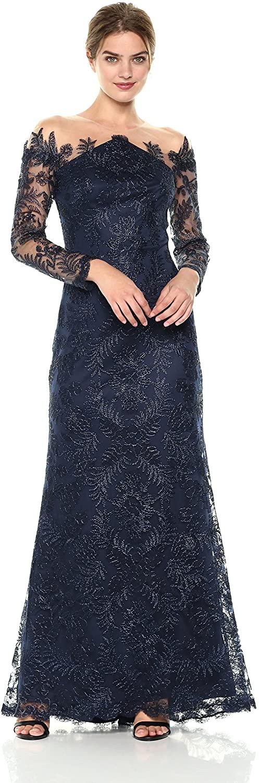 Tadashi Shoji Womens L/S Cord Lace Gown