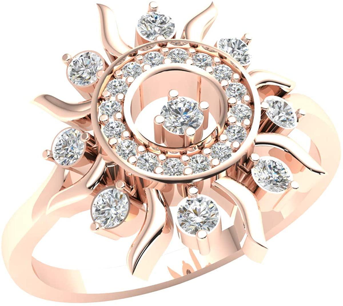 18k Gold Halo Engagement Ring For Women 0.33ctw Round Cut Diamond G VS2