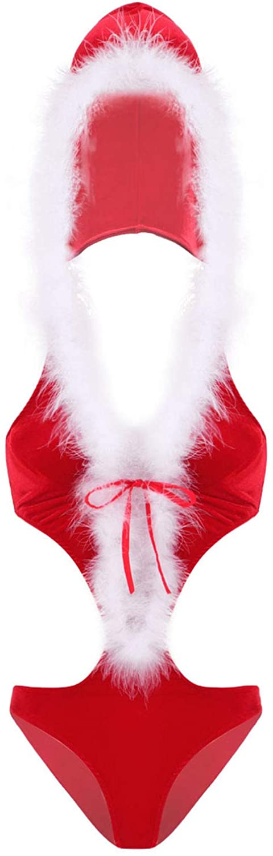 Freebily Women's Mrs Claus Soft Velvet V Neck Hooded Leotard Teddy Bodysuit Santa Cosplay Costume