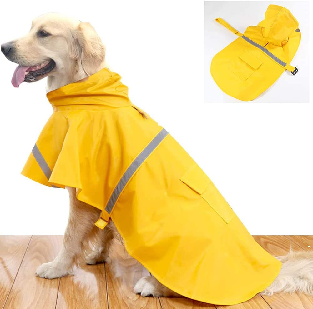 CEYZF Dog Raincoat Poncho Slicker Windbreaker Apparel Clothes Jacket Shirts Pet Puppy Stylish Jumpsuit Hooded Outdoor Waterproof Breathable Velcro Adjustable Reflective Strip Perfect Decoration
