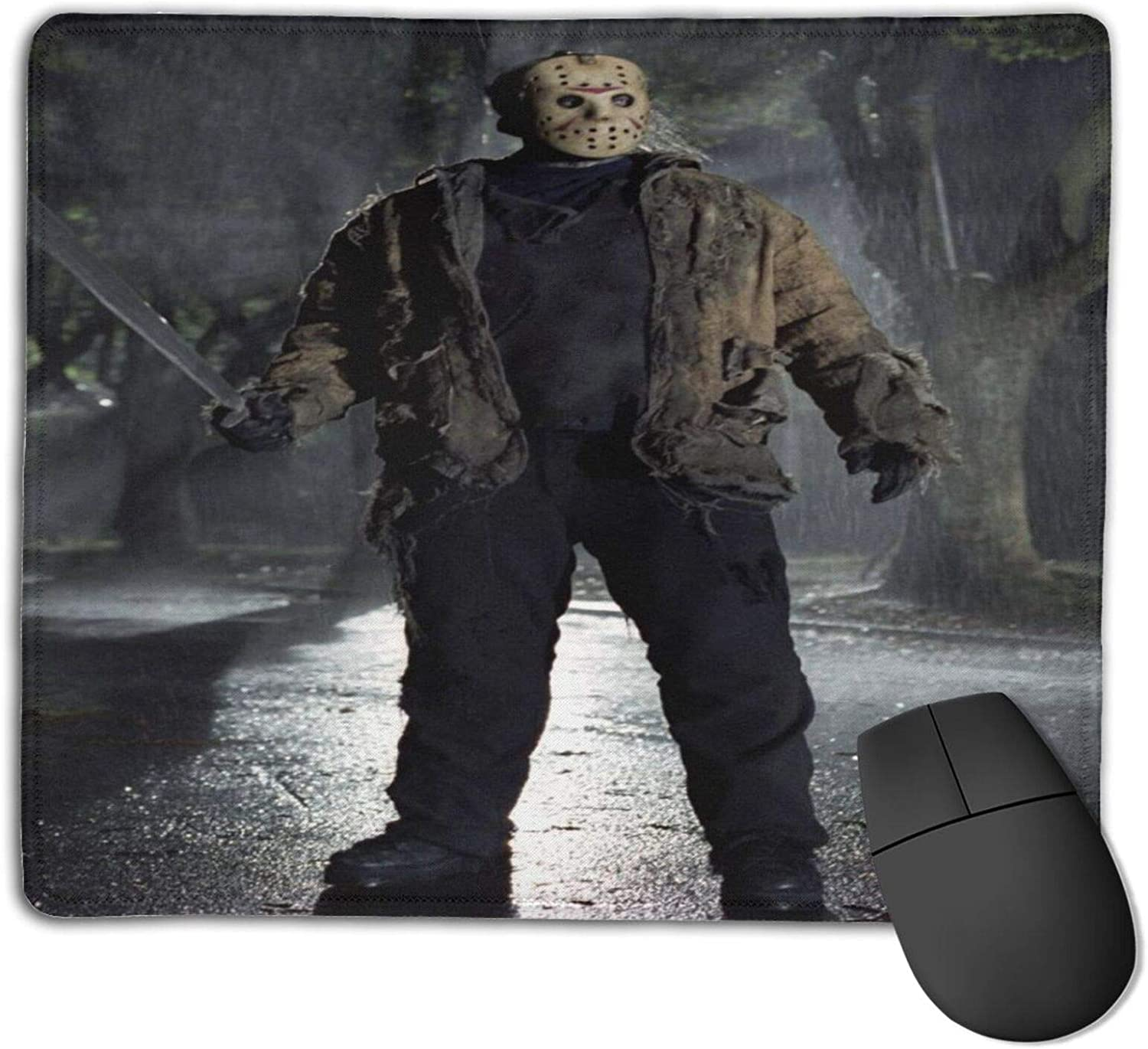 Jason Voorhees (1) Customized Designs Non-Slip Rubber Base Gaming Mouse Pads for Mac,22cm×18cm, Pc, Computers. Ideal for Working Or Game