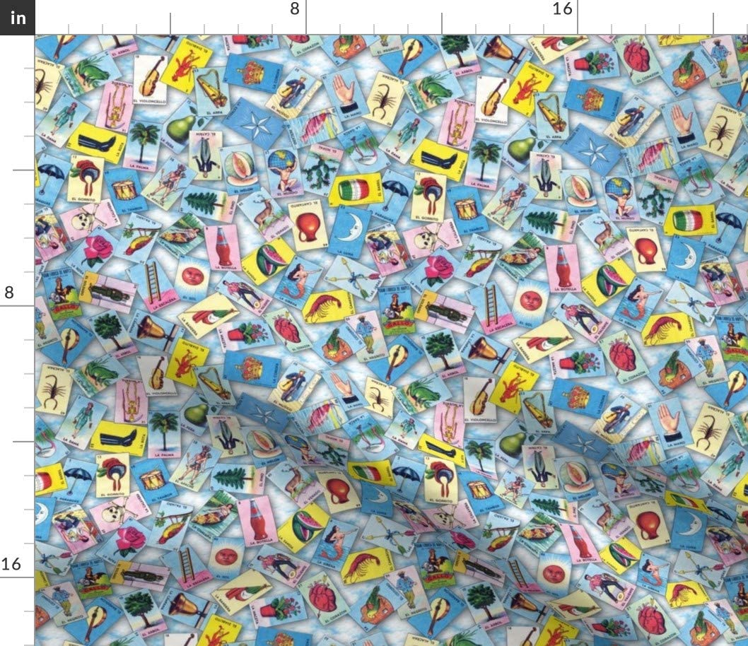 Spoonflower Fabric - Scatter Clouds Mexican Mexico Cards Game Printed on Fleece Fabric by The Yard - Sewing Blankets Loungewear and No-Sew Projects