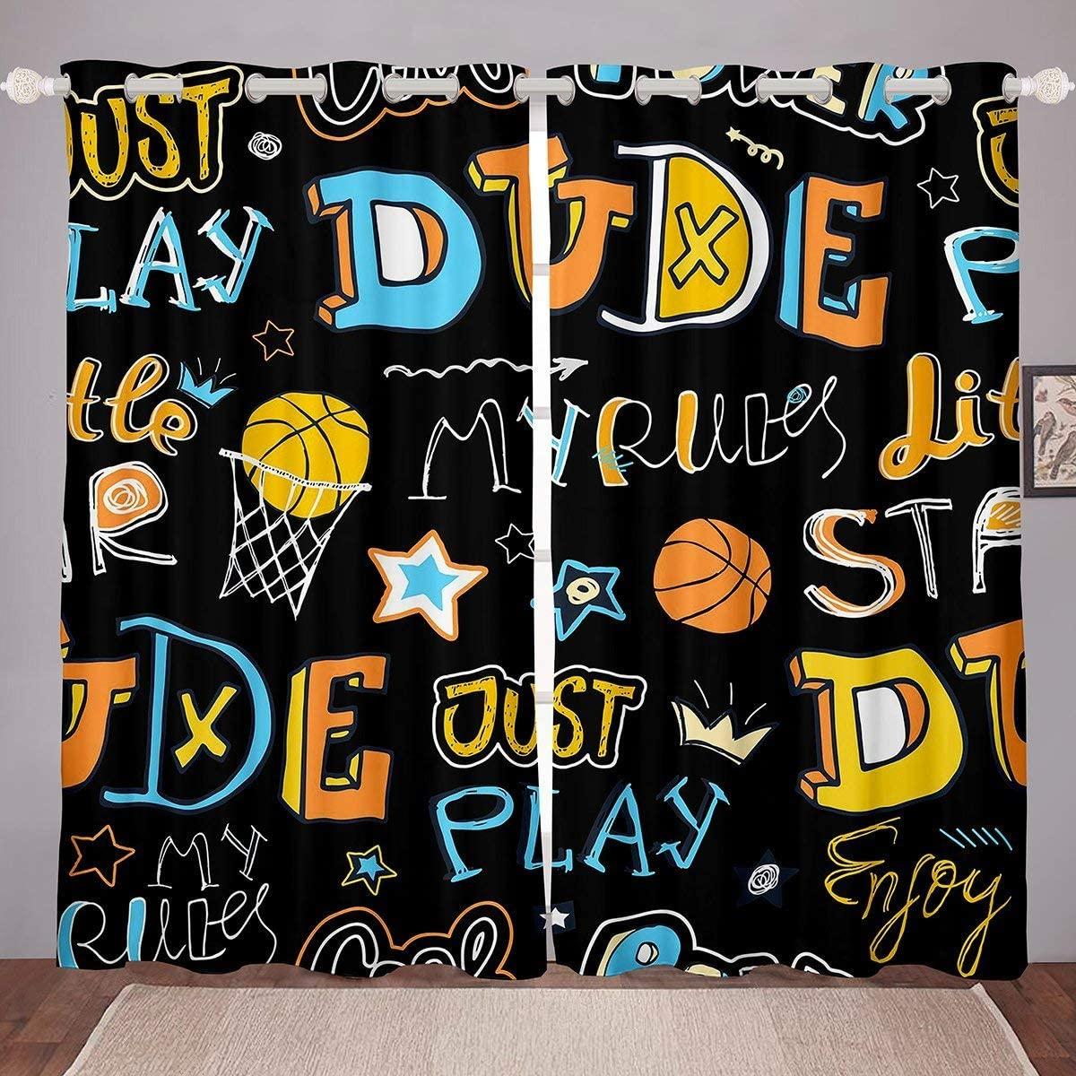 Erosebridal Boys Basketball Window Curtain Panels, Stars Crown Window Drapes for Kids Girls Children, Sports Games Curtains Cartoon Style Curtains Blackout Teens Adult Bedroom Decor 104