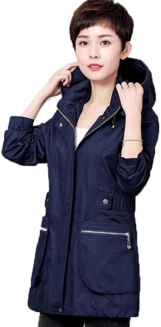 Large Size Middle-Aged Ladies Clothes Overcoat Spring Autumn Mother Casual Windbreaker Women Hooded Trench Coat
