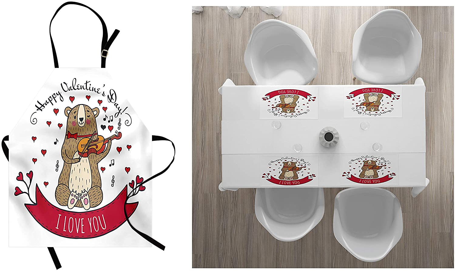 Ambesonne Valentines Day Apron & Placemat Bundle, Teddy Bear Violin Made Romantic Music Notes Heart I Love You1 Unisex Kitchen Bib and 4 Washable Fabric Placemats, Red Brown