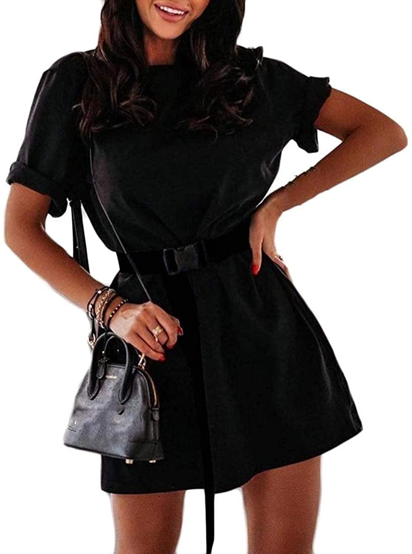 Zeious Women Casual Loose Sport Summer Short Sleeve Solid Mini T-Shirt Dress