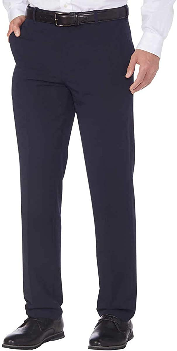 LTYBY Mens Performance Stretch Straight Dress Pants (Dark Navy, 36W x 32L)