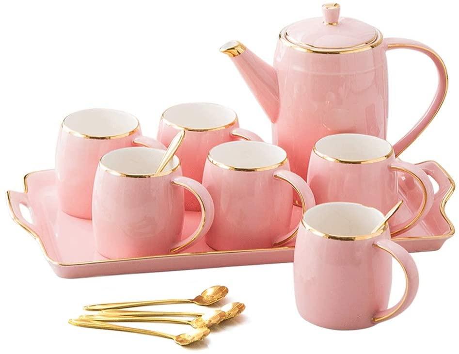 Fashionable Ceramic Drinking Cup Set Home Living Room Tea Set Teapot Tea Cup Simple Drinking Cup Set Tea Set (Color : Pink)
