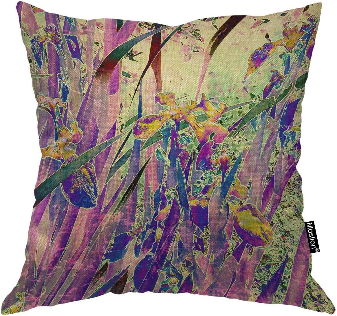 Moslion Floral Pillows Vintage Art Nature Irises Flower Leaves Throw Pillow Cover Decorative Pillow Case Square Cushion Accent Cotton Linen Home 18x18 Inch Purple Green