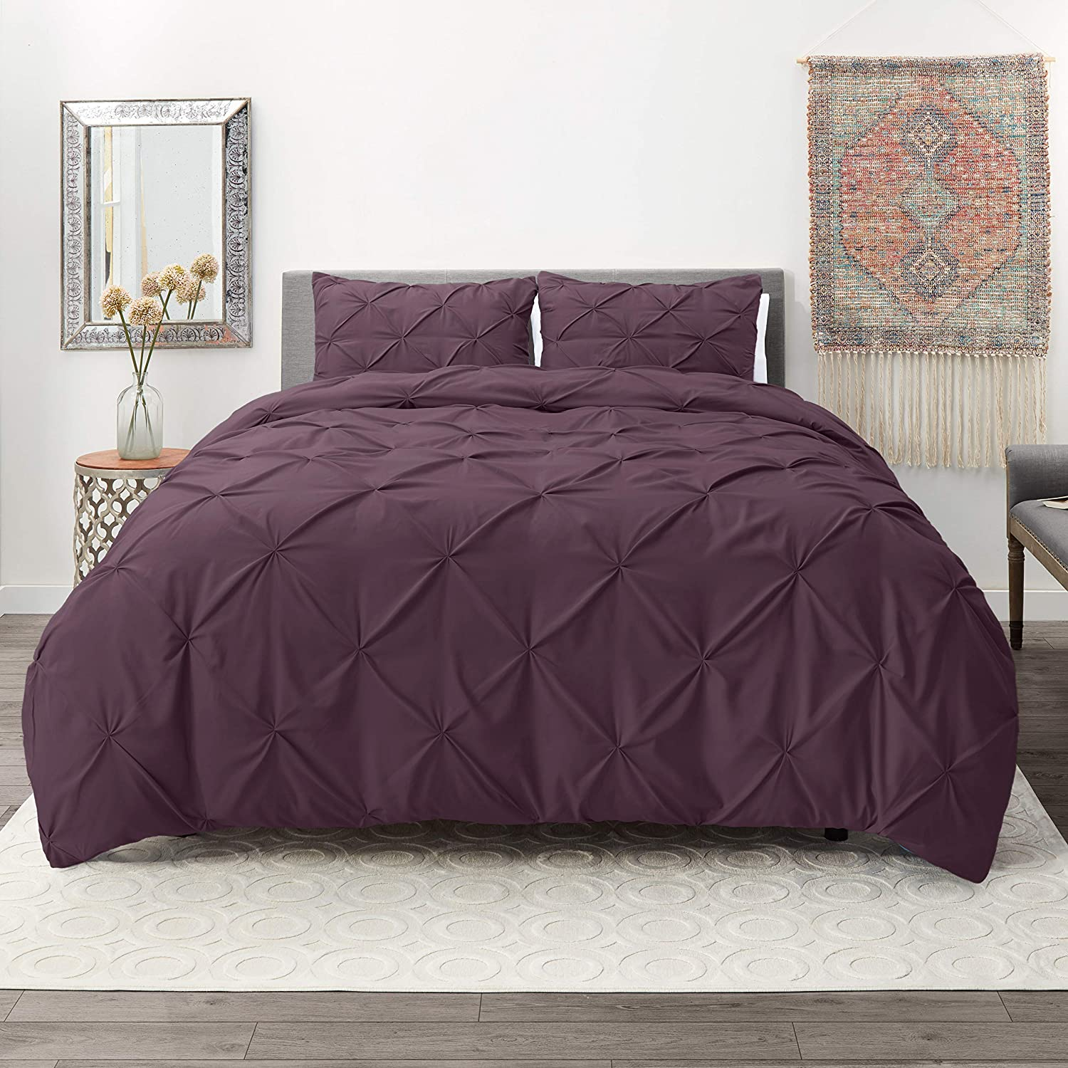 Hotel Signature Comfy Dot Bedding 3 Piece Pinch Pleat Duvet Cover Set Organic Cotton Duvet Cover with 2 Pillow Shams - (Full/Queen Pinch Eggplant)