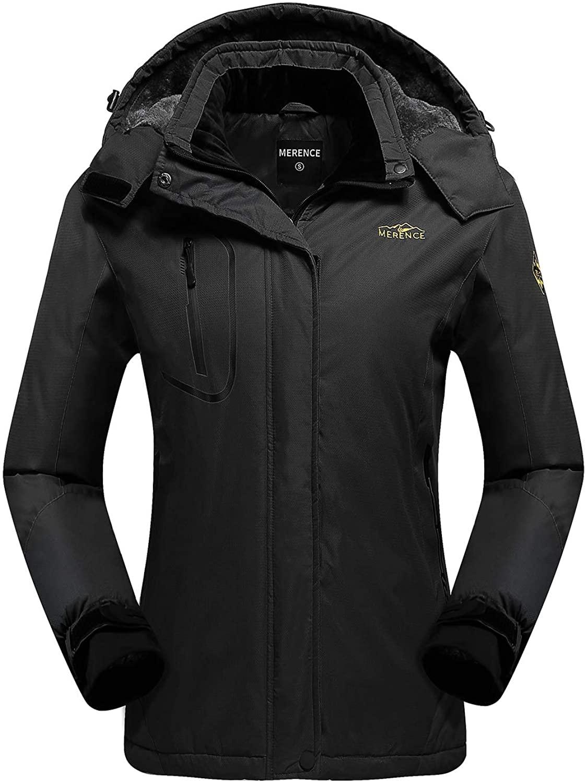 Women's Waterproof Ski Jacket Fleece Windproof Mountain Winter Snow Jacket Warm Outdoor Sports Rain Coat with Removable Hood