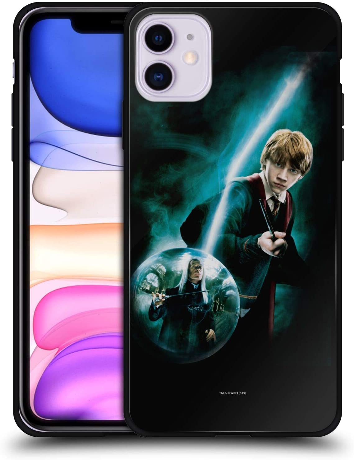 Head Case Designs Officially Licensed Harry Potter Ron Weasley Patronus Order of The Phoenix I Black Hybrid Glass Back Case Compatible with Apple iPhone 11
