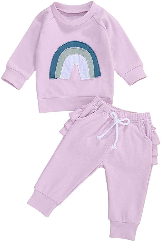 2PCS Baby Boy Girl Fall Winter Clothes Outfits Long Sleeve Crewneck Sweatshirt Tops+Drawstring Sweatpants Set