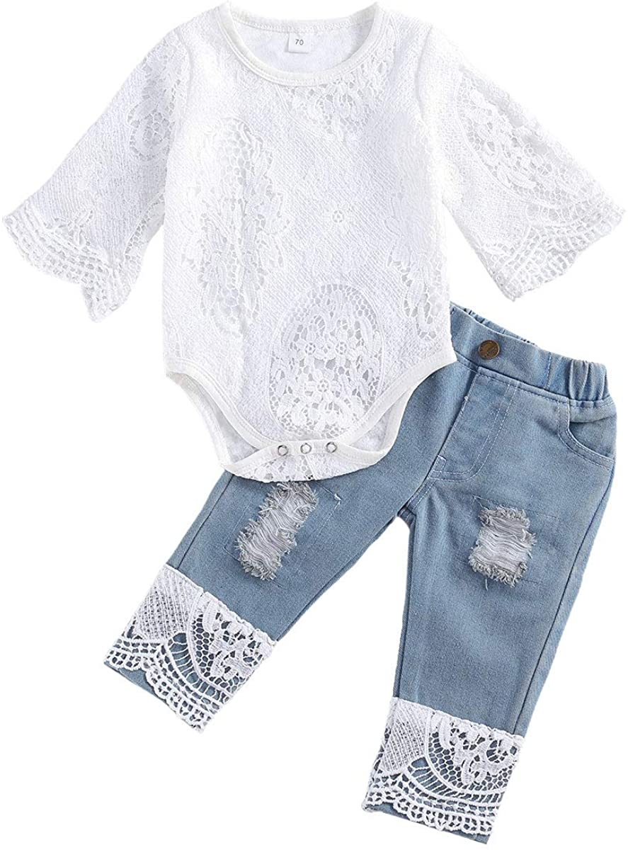 Baby Girl Fall Outfit Set Long Sleeve White Lace Romper Top+ Jeans Baby Girl Clothes Set