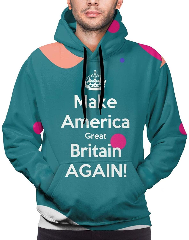 Make America Great Britain Again Men Hip Hop Pullover 3D Hooded Sweatshirt Warm Kangaroo Pocket Hoody