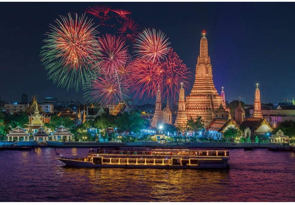 Haoyiyi 5x4ft New Years Eve Photo Backdrop 2021 Backdrop Bangkok Thailand Fireworks Background Photography Photo Kids Adult Newborn Eve Christmas Photo Decorations Wallpaper Decorations