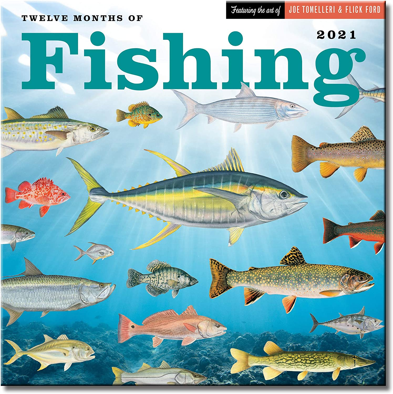 Twelve Months of Fishing Wall Calendar 2021, Monthly January-December 12'' x 12