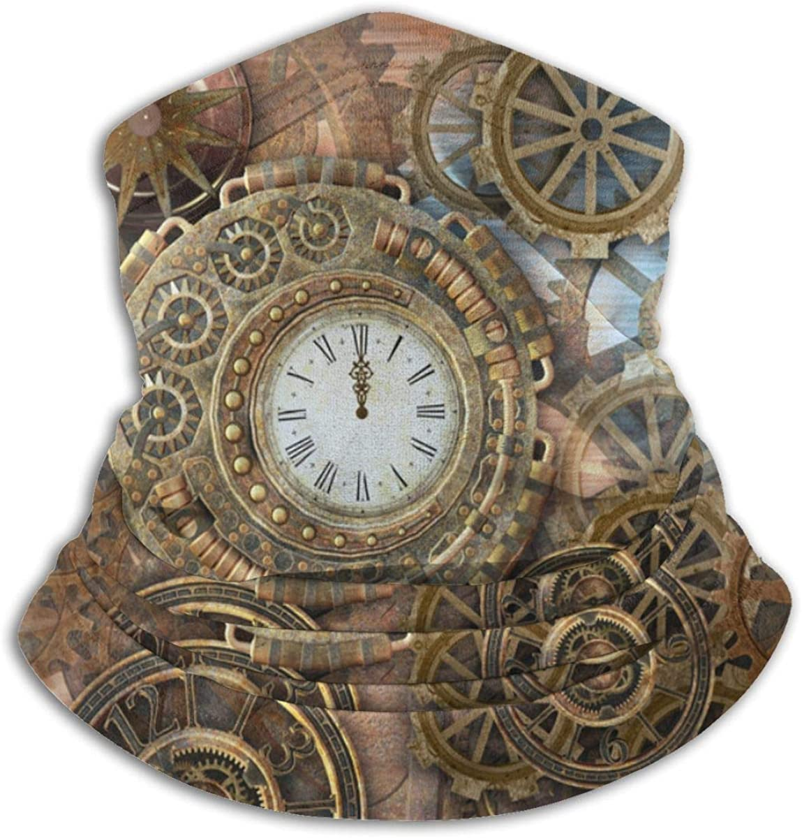 Rusty Steampunk with Clock and Different Kinds of Gears Neck Warmer Gaiter - Windproof Ski - Cold Weather Face Motorcycle