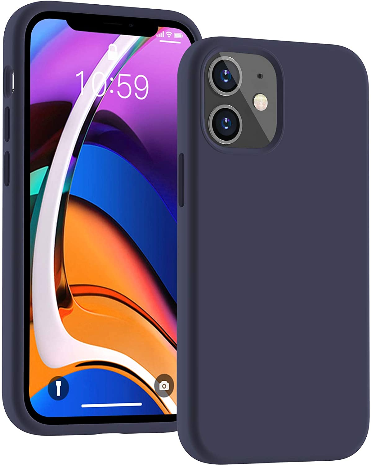 Cucell case for iPhone 12 Mini Case 5.4 inch(2020), Liquid Silicone Design 12 Mini Cases Gel Rubber Full Body Protection Shockproof Shell with Microfiber Durable Drop Proof Cover-Navy Blue