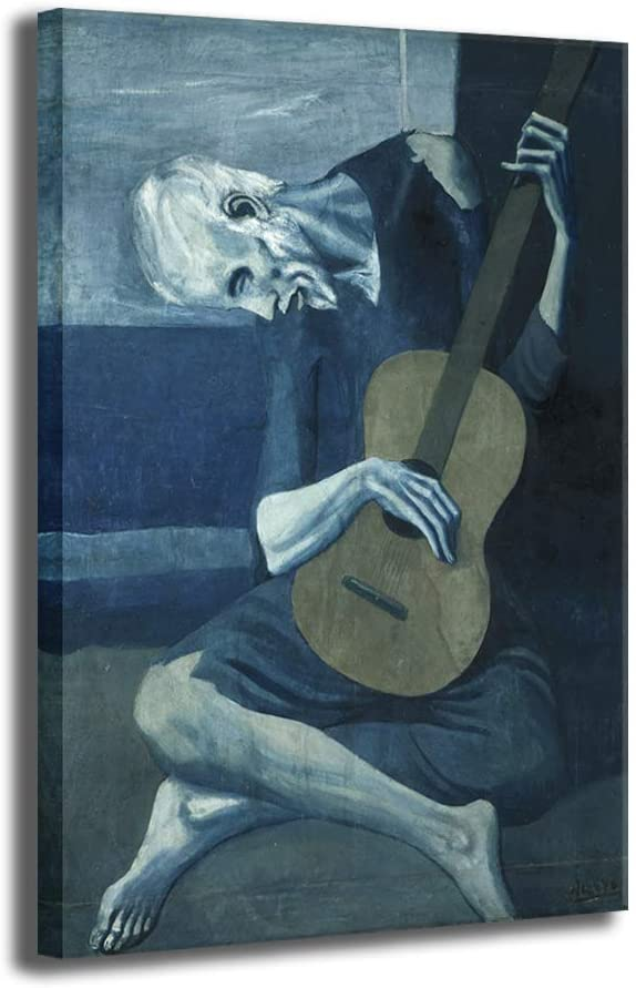 Abstract Oil Paintings on Canvas- Old Guitarist by Pablo Picasso- Old Men Plays The Guitar Picture Wall Art Work Decor- Ready to Hang 18x12 inch 1 Panel