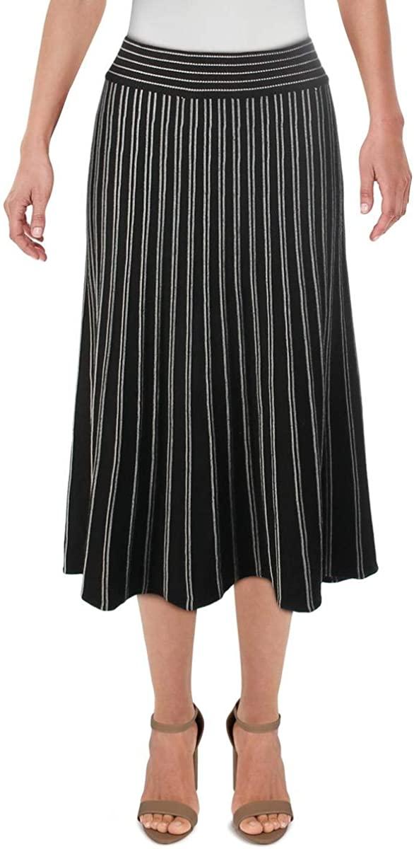Max Studio Womens Knit Striped A-Line Skirt