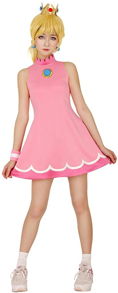 miccostumes Women's Princess Peach Tennis Dress Cosplay Costume with Crown