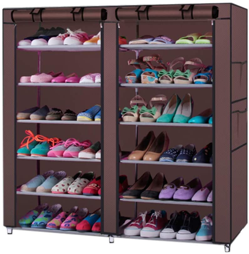 NACHEN 6-Tiers 12 Lattices Non-Woven Fabric Shoe Rack Cabinet with Rustproof Cover Closet Can accommodate 36-Pair Shoes Storage Rack Durable and Easy to Assemble