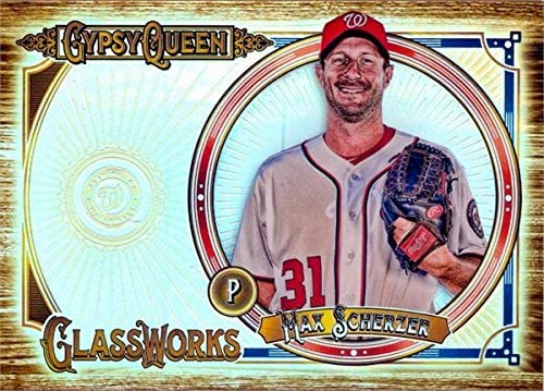 Max Scherzer baseball card refractor (Washington Nationals) 2018 Topps Gypsy Queen #GWMS Glassworks box topper size 4x6
