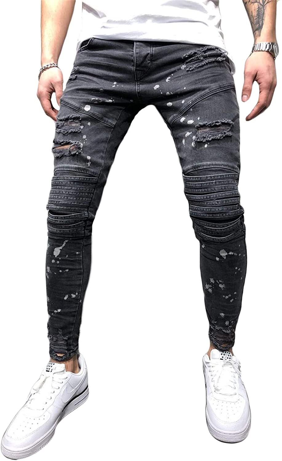 Soluo Men's Distressed Slim Fit Biker Jeans Skinny Ripped Destroyed Casual Comfy Pants Hip Hop Stretchy Trousers