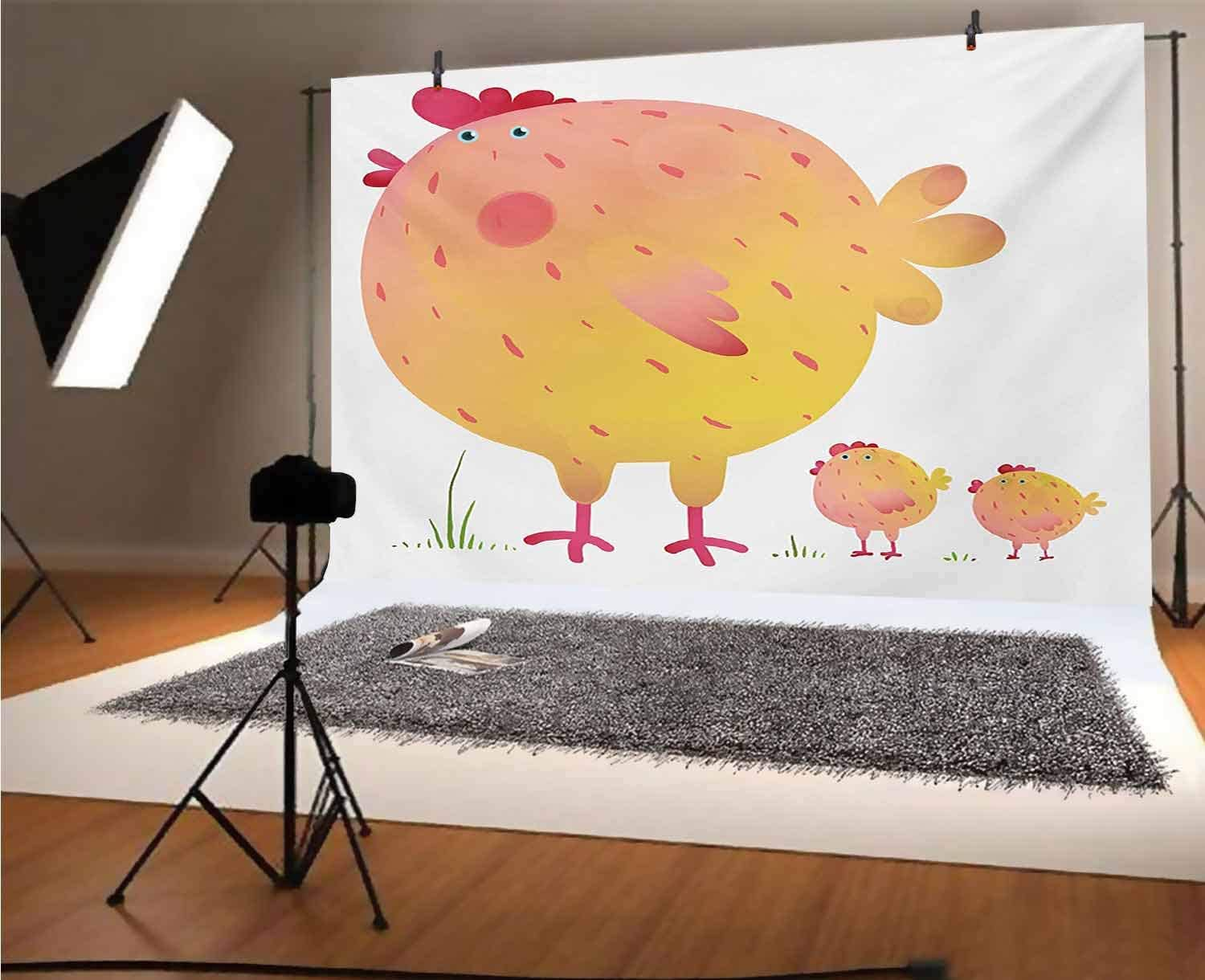 Chicken 8x6 FT Vinyl Photo Backdrops,Mother Hen and Chicks Farm Animals Agriculture Family Theme Background for Selfie Birthday Party Pictures Photo Booth Shoot