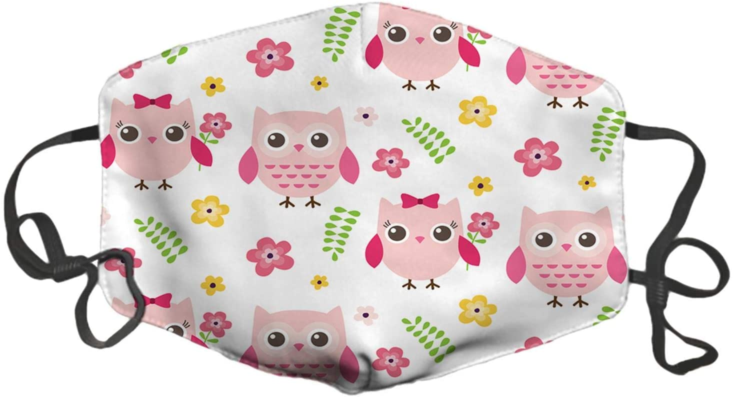 LuxSweet Girly Owls Flowers Face Pattern Design Cotton Washable Reusable Unisex Soft and Comfortable for Men and Women